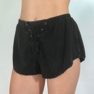 BEAR DANCE BLACK ACID WASH LACE UP FLY BOOTY SHORT